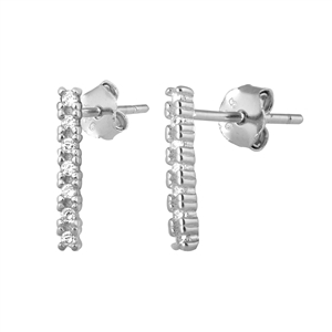 Silver Stud Earrings - Bar