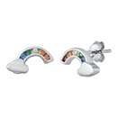 Silver CZ Earrings - Rainbow