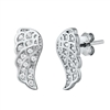 Silver CZ Earrings - Angel Wings