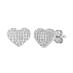 Silver Stud Earrings - Heart Pavé