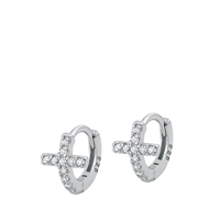 Silver CZ Huggie Earrings - Cross