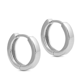 Silver Square Tube Huggie Earrings