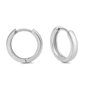 Silver Round Tube Huggie Earrings
