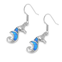 Silver Earrings W/ Lab Opal - Seahorse