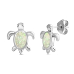 Silver Earrings W/ Lab Opal - Turtle
