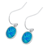 Silver Earrings W/ Lab Opal - Oval