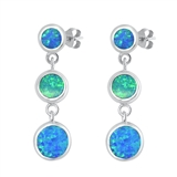 Silver Earrings W/ Lab Opal - Circles