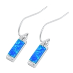Silver Earrings W/ Lab Opal - Bar