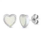 Silver Lab Opal Earrings - Heart