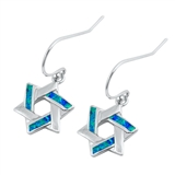 Silver Earrings W/ Lab Opal - Jewish Star