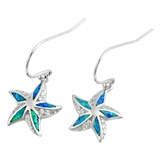 Silver Earrings W/ Lab Opal - Starfish