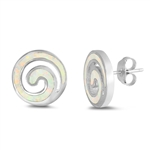 Silver Lab Opal Earrings - Spiral