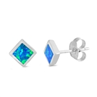 Silver Lab Opal Earrings - Square