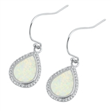 Silver Earrings W/ Lab Opal - Drop