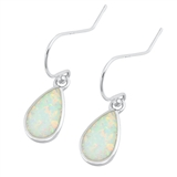 Silver Earrings W/ Lab Opal - Teardrop