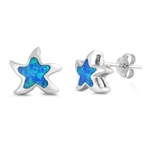 Silver Earrings W/ Lab Opal - Star