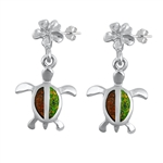 Silver Earrings W/ Lab Opal - Turtle & Plumeria