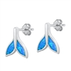 Silver Lab Opal Earrings - Whale Tail