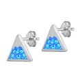 Silver Earrings w/ Lab Opal - Mountain