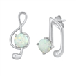 Silver Earrings w/ Lab Opal - Music Notes