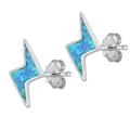 Silver Earrings w/ Lab Opal - Lightning