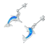 Silver Earrings w/ Lab Opal - Dolphin