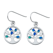 Silver Earrings W/ Lab Opal - Tree