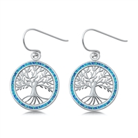 Silver Earrings w/ Lab Opal - Tree of Life