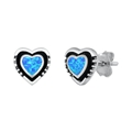 Silver Earrings w/ Lab Opal - Heart