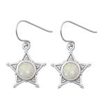 Silver Earrings W/ Lab Opal - Sheriff Star