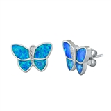Silver Earrings W/ Lab Opal - Butterfly