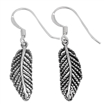 Silver Earrings - Feather