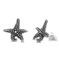 Silver Stud Earrings - Starfish