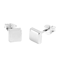 Silver Stud Earrings - Square