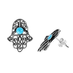 Silver Stud Earrings - Hamsa