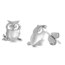 Silver Stud Earrings - Owl