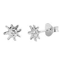 Silver Stud Earrings - Sun
