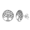 Silver Stud Earrings - Tree of Wisdom