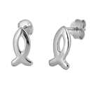 Silver Stud Earrings - Christian Fish