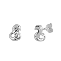 Silver Stud Earrings - Snakes