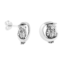 Silver Stud Earrings - Owl on the Moon