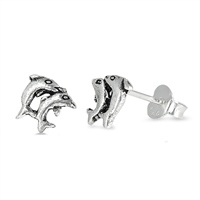 Silver Earrings - Dolphins