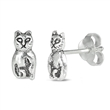 Silver Earrings - Cat