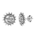 Silver Stud Earrings - Moon and Sun