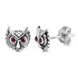 Silver Stud Earrings - Owl Head