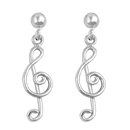 Silver Stud Earrings - Music Note