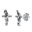 Silver Stud Earrings - Cross