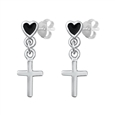 Silver CZ Earrings - Cross & Heart