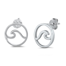Silver Stud Earrings - Wave