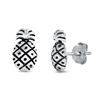 Silver Stud Earrings - Pineapple